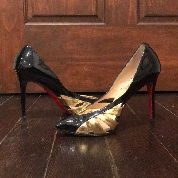 huge discount 466cd 41f28 Christian Louboutin | Black & Gold, Sexy Heels